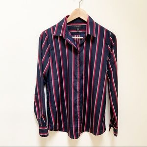 Banana republic navy red & white button down XS